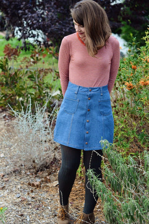Tillery Skirt by Blank Slate Patterns - Snap Front Skirt Sewing Pattern - Denim Mini Skirt Pattern
