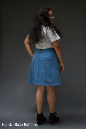 Back View - Tillery Skirt by Blank Slate Patterns - Snap Front Skirt Sewing Pattern - Denim Mini Skirt Pattern