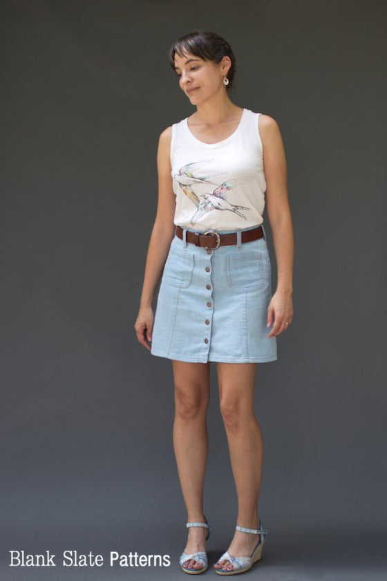 Mini Skirt Version - Tillery Skirt by Blank Slate Patterns - Snap Front Skirt Sewing Pattern - Denim Mini Skirt Pattern