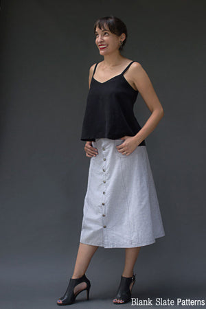 Midi Version - Tillery Skirt by Blank Slate Patterns - Snap Front Skirt Sewing Pattern - Denim Mini Skirt Pattern