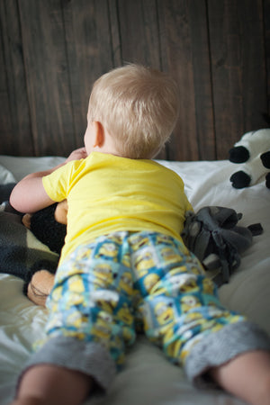 Contrasting cuffs and waistband on the Snuggle Pajamas Sewing Pattern by Blank Slate Patterns for Babies, Boys and Girls