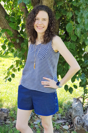 Easy to sew woven tank sewing pattern by Blank Slate Patterns - scoop neck wit pocket paired with Garnet Shorts
