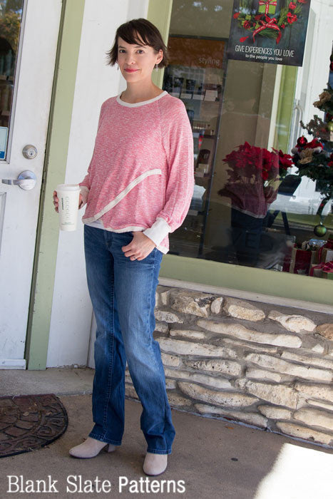 Tulip Top sweatshirt sewing pattern in a sweater knit by Blank Slate Patterns