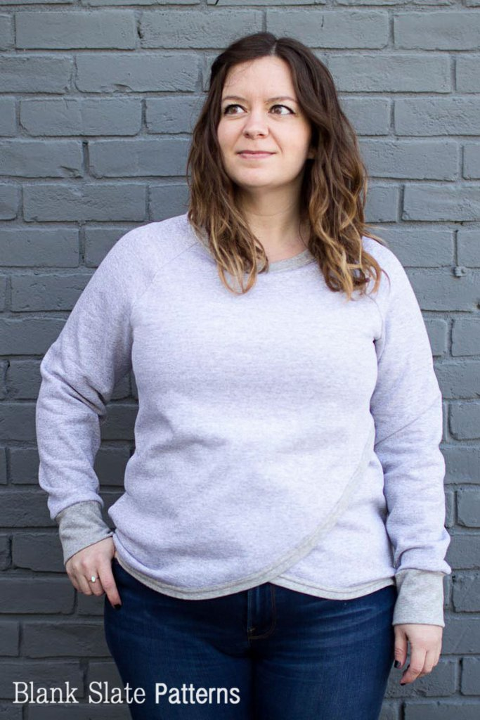 Tulip Top sweatshirt sewing pattern by Blank Slate Patterns - raglan sleeves and crossover front
