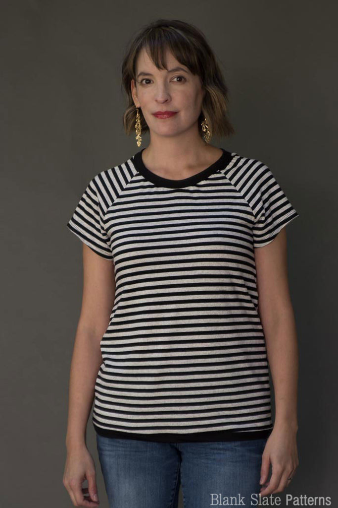 Cross back option front view -  Tulip Top sweatshirt sewing pattern by Blank Slate Patterns