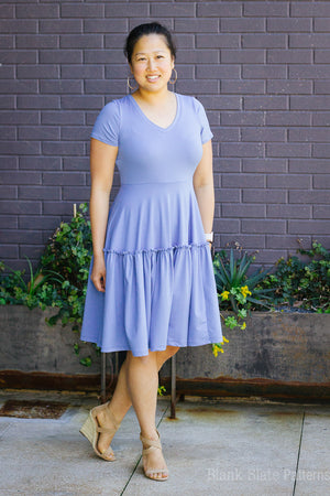 Woman in light blue dress - Tiered dress pattern - Verbena Dress from Blank Slate Patterns - stretch knit dress pattern