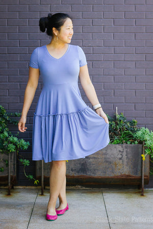 Tiered dress pattern - Verbena Dress from Blank Slate Patterns - stretch knit dress pattern