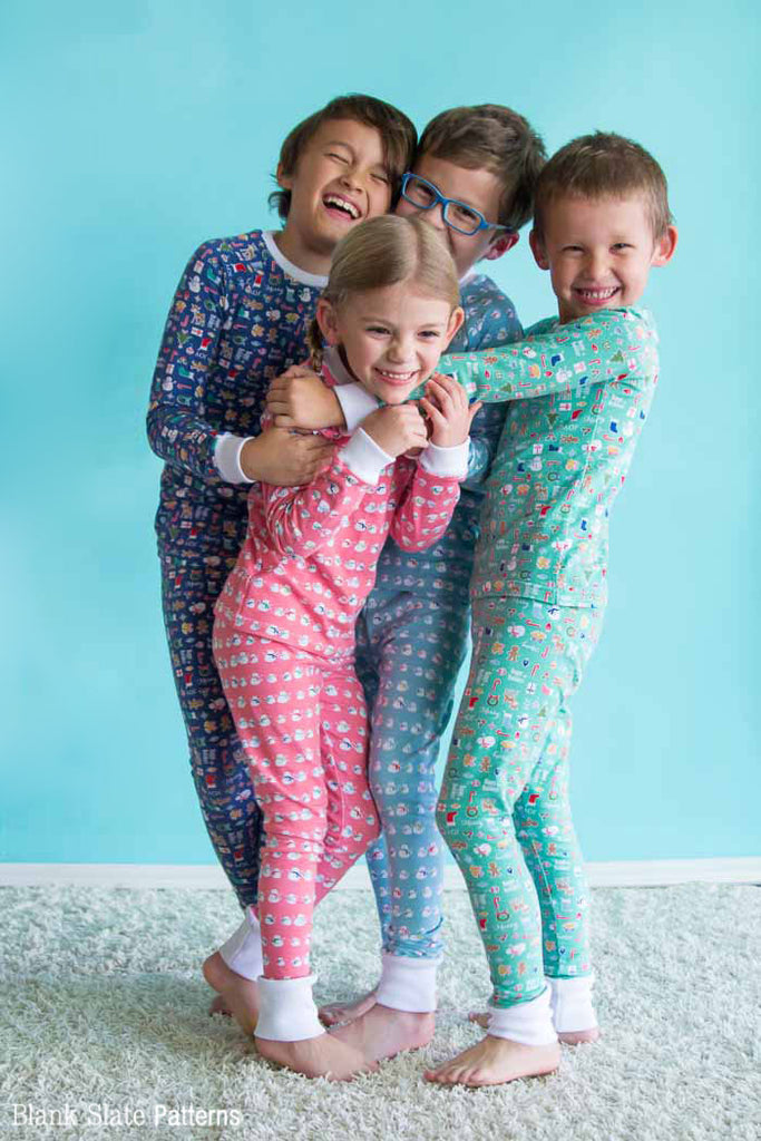 Dreamtime Jammies - Kids Pajama Pattern from Blank Slate Patterns - Christmas Pajamas Sisters