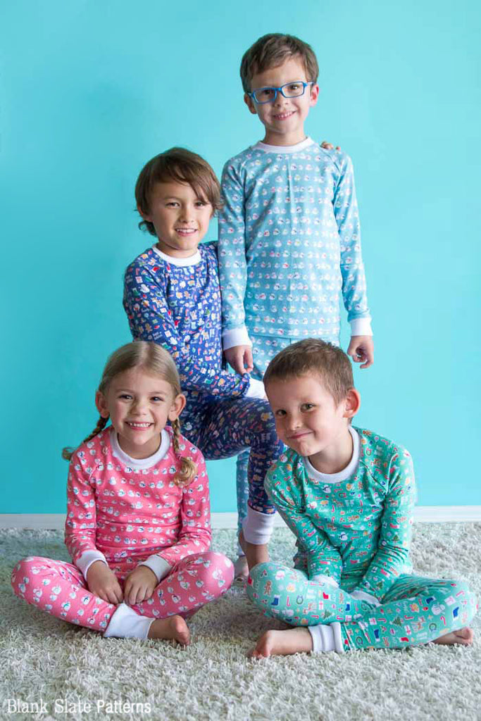 Dreamtime Jammies - Kids Pajama Pattern from Blank Slate Patterns - Christmas Pajamas Brothers