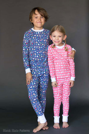 Dreamtime Jammies - Kids Pajama Pattern from Blank Slate Patterns - Sibling Christmas Pajamas