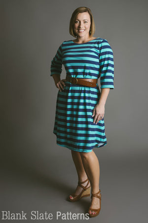 Shoreline Boatneck Dress Sewing Pattern by Blank Slate Patterns