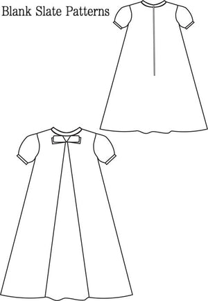 Little Bow Pleat pdf sewing pattern by Blank Slate Patterns line drawing