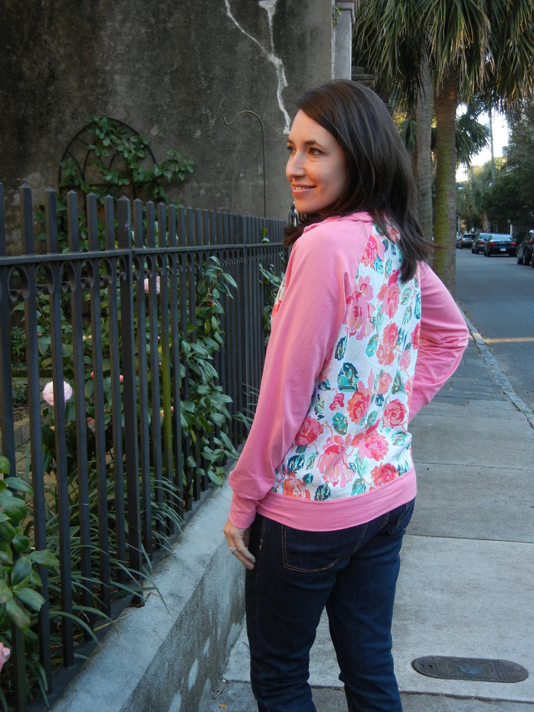 Contrasting fabrics by Sew Charleston in the Zinnia Jacket zippered sweatshirt sewing pattern by Blank Slate Patterns