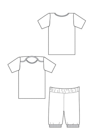 Sleepover Pajamas sewing pattern from blankslatepatterns.com line drawing
