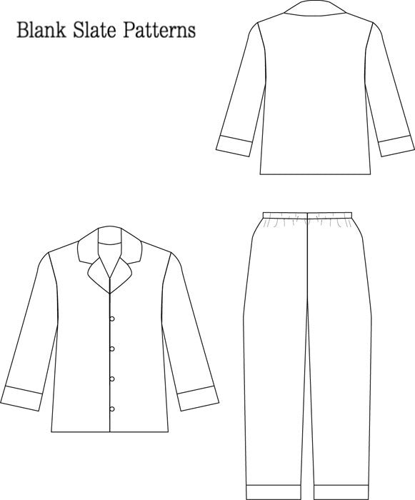 Lazy Day Pajamas pdf sewing pattern by Blank Slate Patterns line drawing