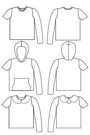 Tee x 3 pdf sewing pattern by Blank Slate Patterns line drawing