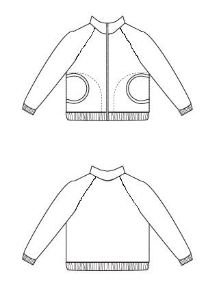 Line drawing - Zinnia Jacket zippered sweatshirt sewing pattern by Blank Slate Patterns