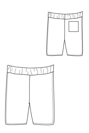 Big Island Board Shorts PDF SEwing Pattern by Blank Slate Patterns line drawing
