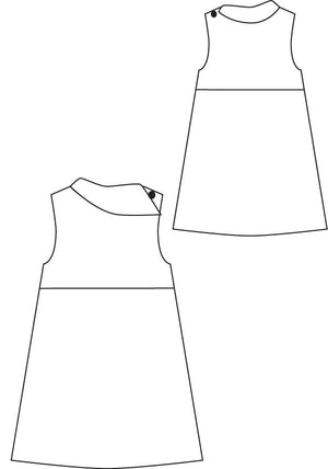 Fresh Bloom Frock pdf sewing pattern from Blank Slate Patterns line drawing