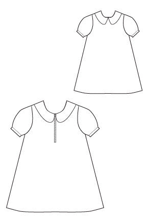 A LIne A La Mode Dress PDF Sewing Pattern by Blank Slate Patterns - Zip front, Peter Pan Collar