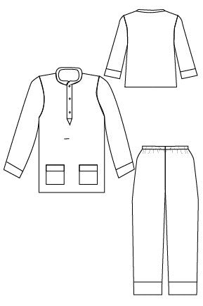 Pocket PJs pdf sewing pattern by Blank Slate Patterns line drawing