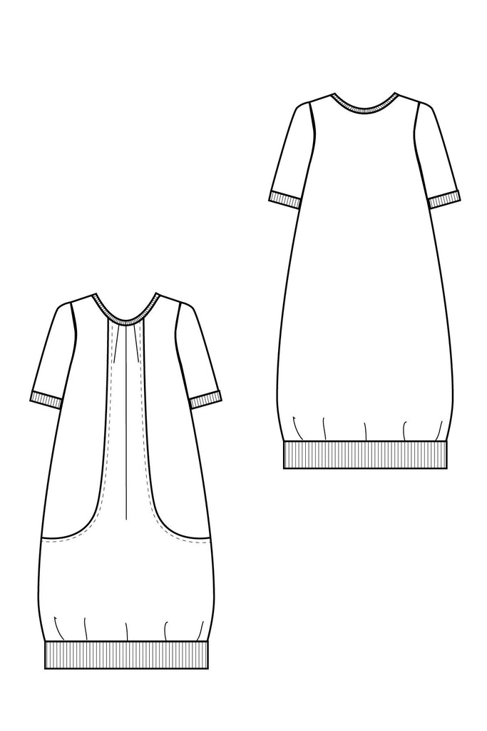 Pocket Full of Posies pdf sewing pattern by Blank Slate Patterns line drawing