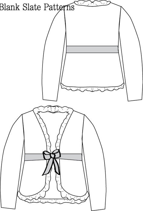 Ruffled Cardigan pdf sewing pattern by Blank Slate Patterns line drawing