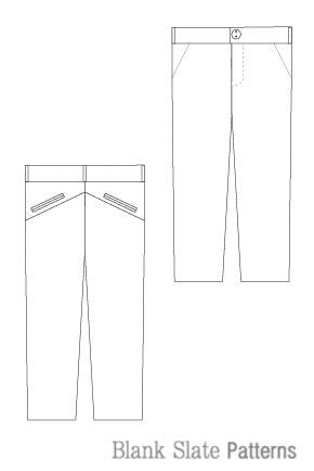 W Pants pdf sewing pattern by Blank Slate Patterns line drawing