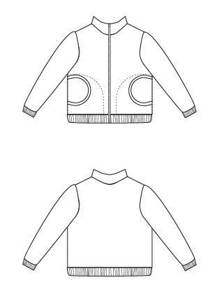 Zippy Jacket pdf sewing pattern by Blank Slate Patterns line drawing