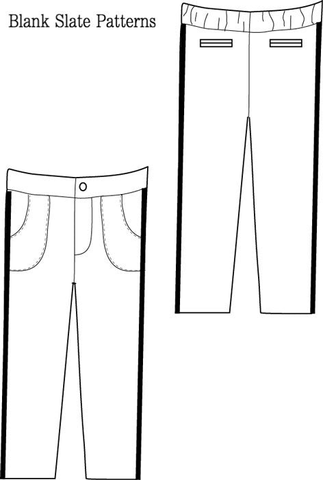 Trendy Tuxedo pdf sewing pattern by Blank Slate Patterns  line drawing pants