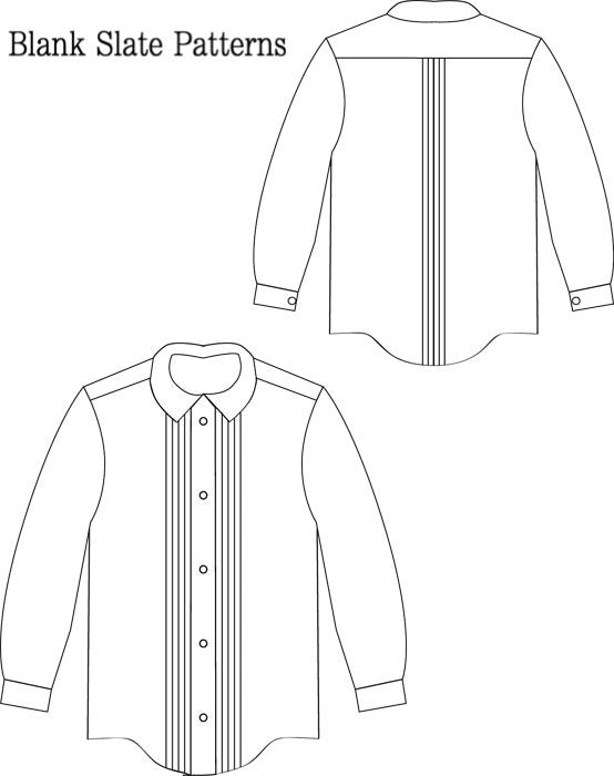 Trendy Tuxedo pdf sewing pattern by Blank Slate Patterns  line drawing shirt