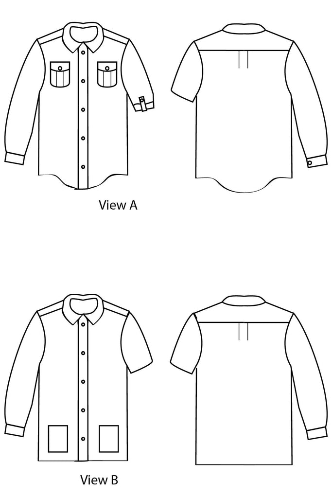 Views A & B Line Drawings - Bookworm Button Up Sewing Pattern by Blank Slate Patterns for Pattern Anthology