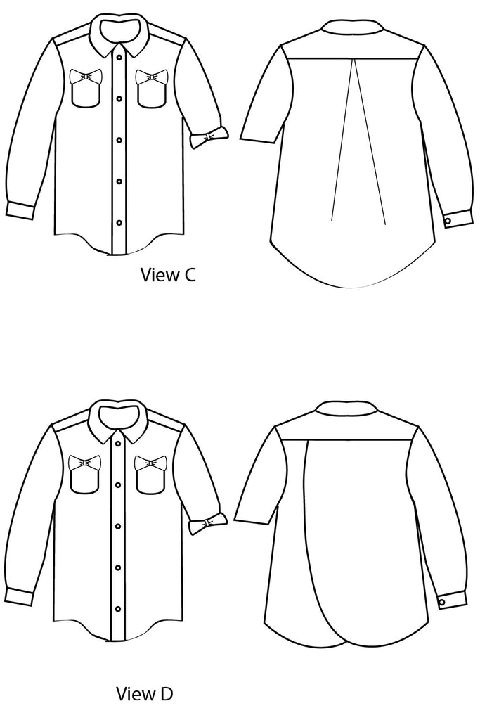 Views C & D Line Drawings - Bookworm Button Up Sewing Pattern by Blank Slate Patterns for Pattern Anthology