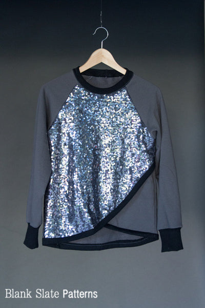 Sequined sweatshirt - Tulip Top sweatshirt sewing pattern by Blank Slate Patterns
