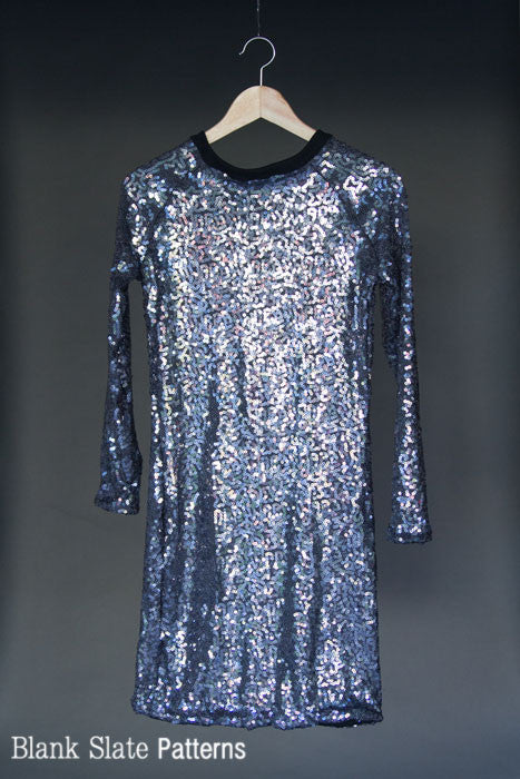 Wintersong Dress sewing pattern - sequin dress - by Blank Slate Patterns