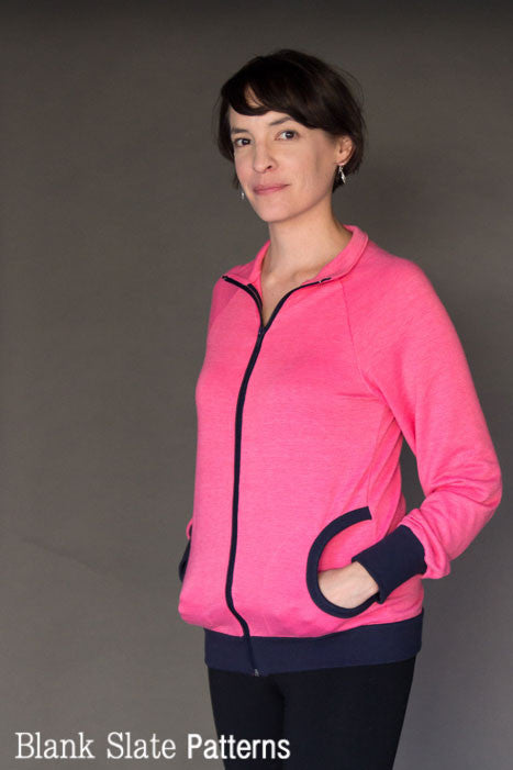 Zinnia Jacket zippered sweatshirt sewing pattern by Blank Slate Patterns
