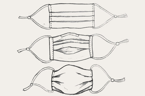 Drawing of the pleated face mask