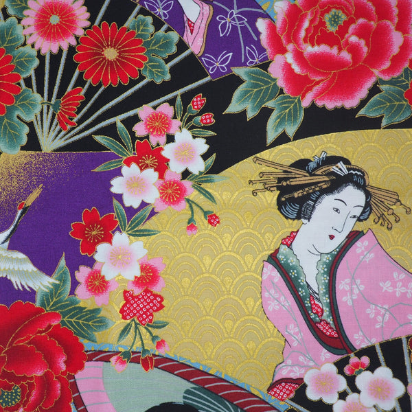 Close-up shot of vibrant multi-coloured geisha print Japanese cotton fabric with gold detailing.