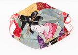 Japanese cotton face coverings with beautiful Geishas / 100 % soft cotton / double-layer / removable nose clip / Water repellent & Antiviral 100% Cotton Certified GOTS lining / adjustable soft elasticated ear loops / Washable / Reusable