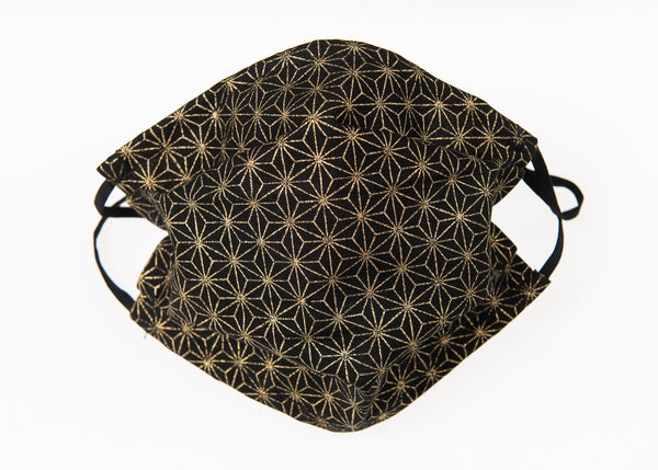 Gold-foiled Traditional Japanese Geometric Stars on Black Background Face Mask