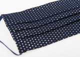 Small Metallic Polka Dots Classic European face covering 100 % soft cotton / double-layer / removable nose clip / pocket insert/ adjustable soft elasticated ear loops / Washable / Reusable
