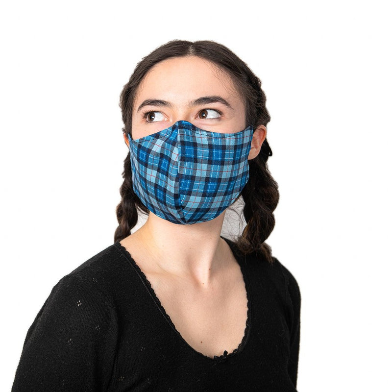 Tartan Face Covering/ 100 % cotton / double-layer / nose clip / Water repellent & Antiviral 100% Cotton Certified GOTS lining / adjustable soft elasticated ear loops / Washable / Reusable