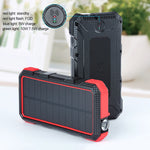 Wireless fast charging Solar Powerbank. 20000mAh lithium ion battery with 2 Quick charging ports 5V 2.1A and one Type C Fast charge 5V 2.4A. Shock proof and Water resistant with flash light. Made by Green Juice Systems.