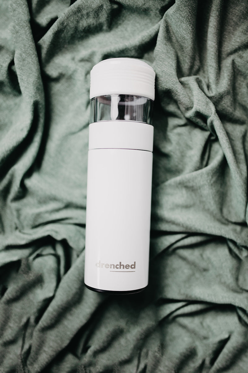 drenched - Reusable Smart Infuser Bottle (white x satin limited edition)