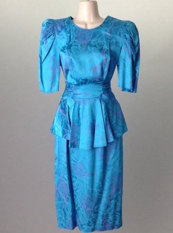 Blue Floral Pattern Dressy Traditional Dress, Size: 8