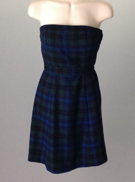 Blue Plaid Casual Traditional Dress, Size: 0 R
