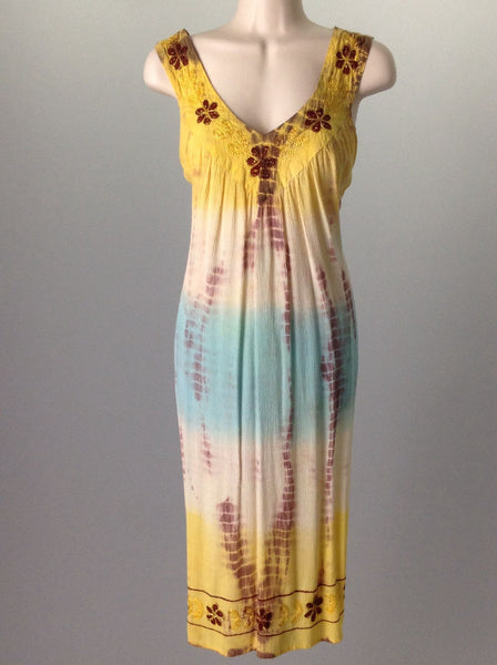 Yellow Hippie Casual Sun Dress, Size: Small