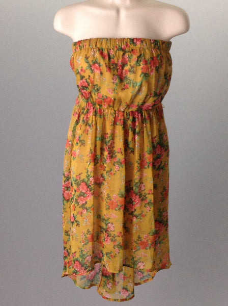 Yellow Floral Pattern Casual Sun Dress, Size: Small