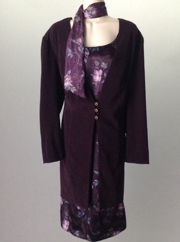 Purple Floral Pattern Casual Traditional Dress, Size: 16