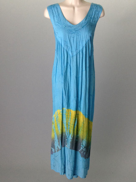 Blue Hippie Casual Traditional Dress, Size: 16